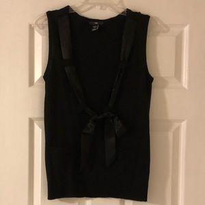 H&M Black Preppy Sweater Vest 8 Small Medium